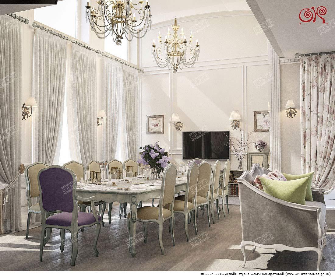 Дизайн гостиной-столовой в квартире в классическом стиле
