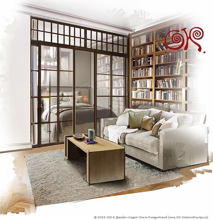 Дизайн гостиной с библиотекой в стиле винтаж