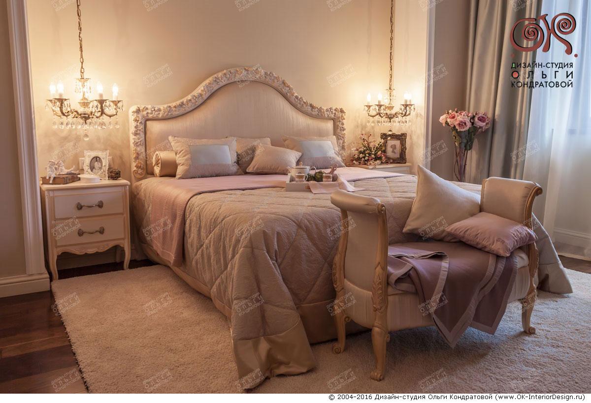 Дизайн розовой спальни в классическом стиле