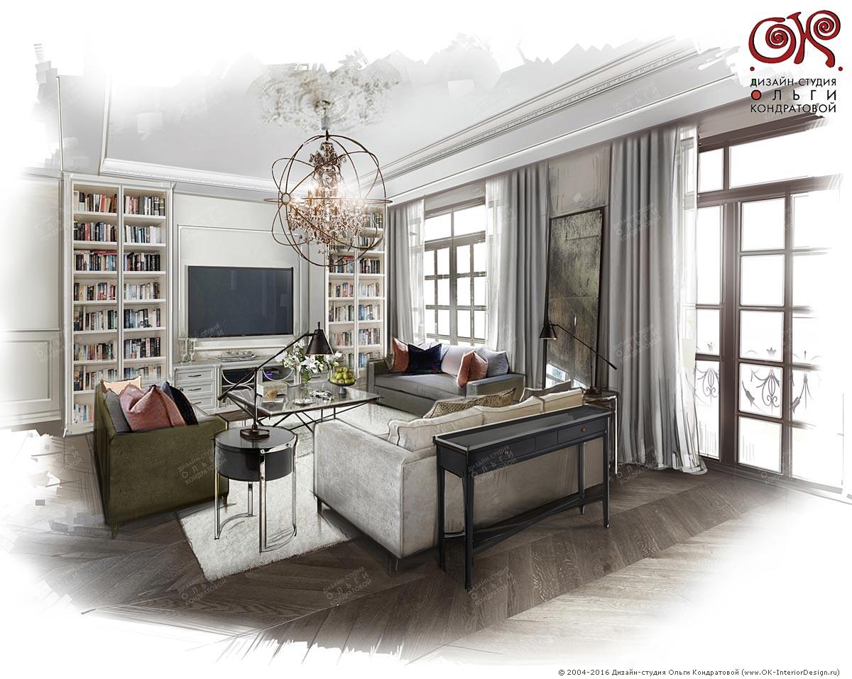 Дизайн гостиной с библиотекой
