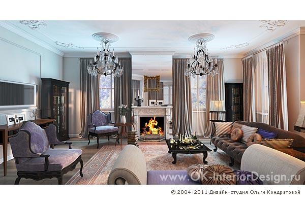 Дизайн гостиной в коттедже: фото