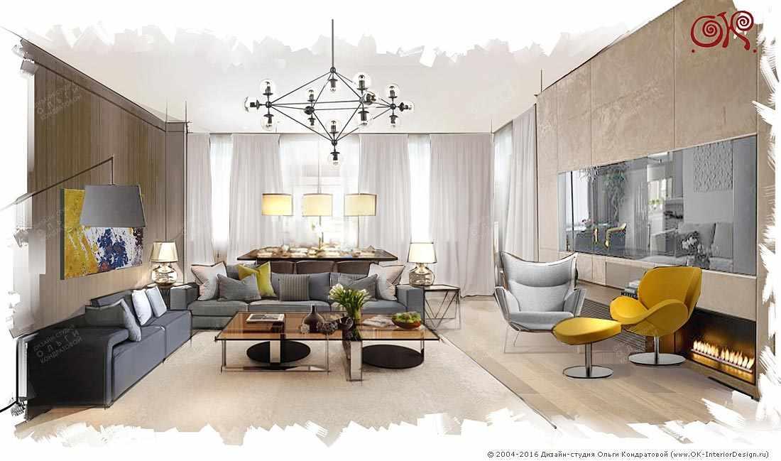Дизайн современной гостиной с телевизором в каминной зоне