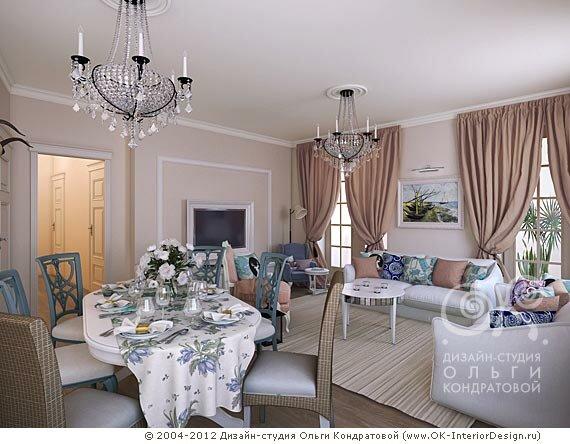 Голубая кухня-гостиная