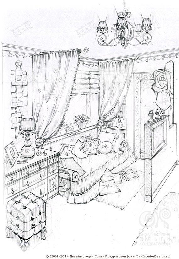 рисунок интерьера детской комнаты для девочки фото дизайнов