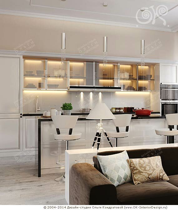 Современная светлая кухонная зона