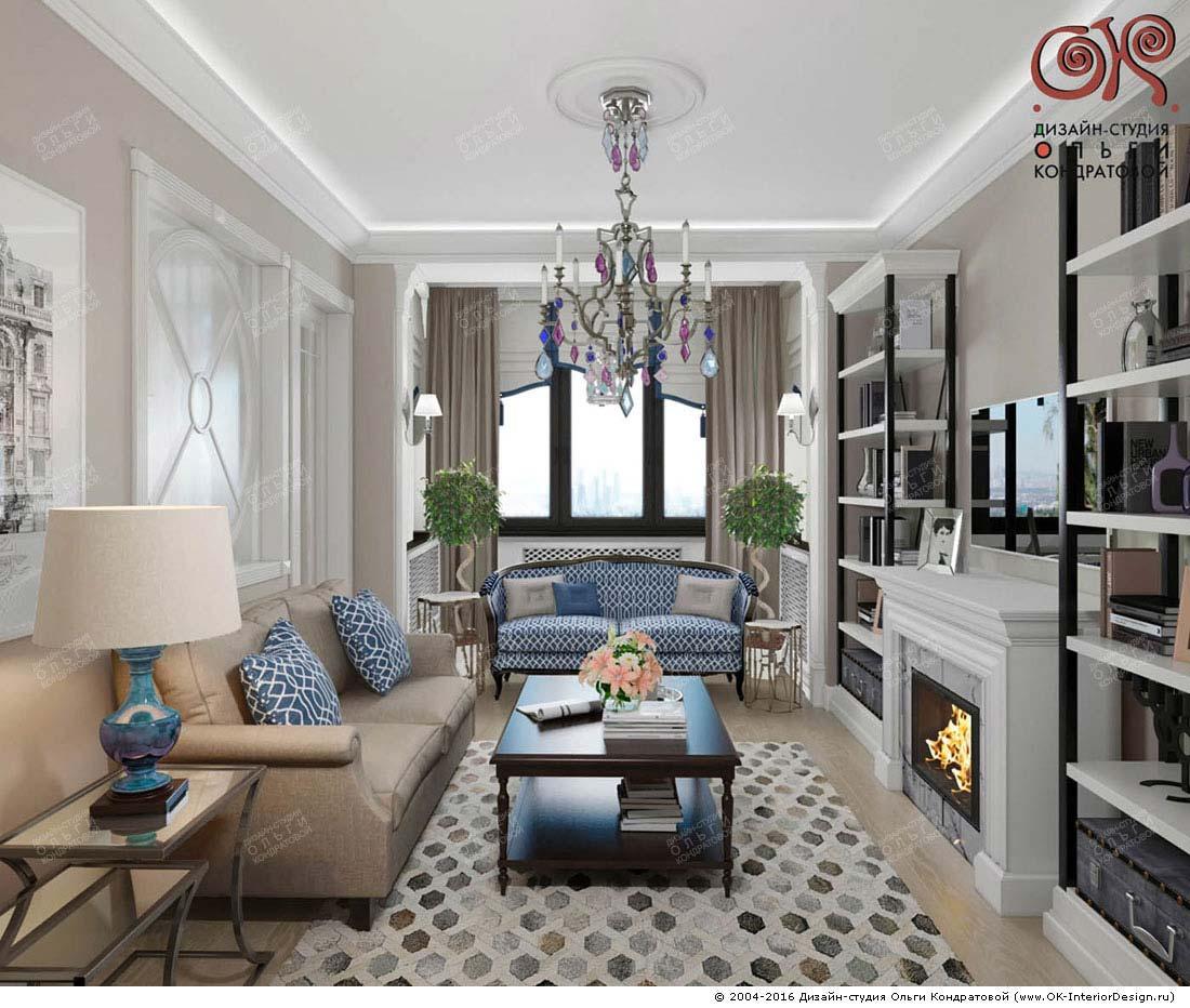 By Cabell Design Studio: Дизайн ТВ-зоны в гостиной