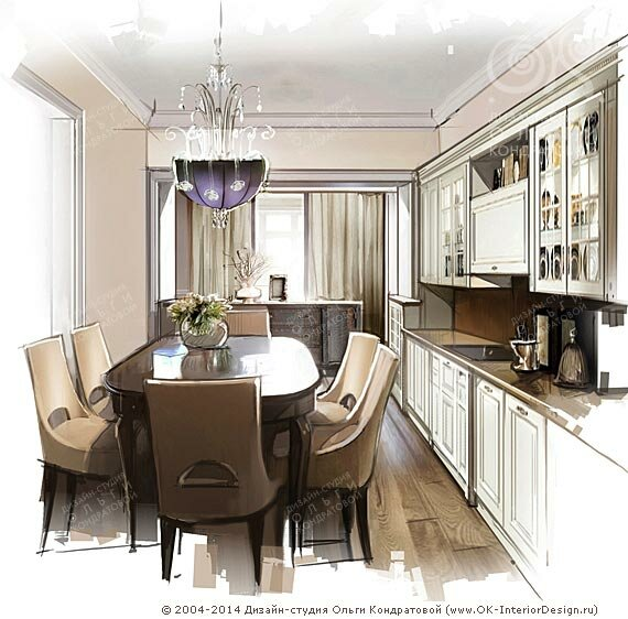 Эскиз дизайна кухни
