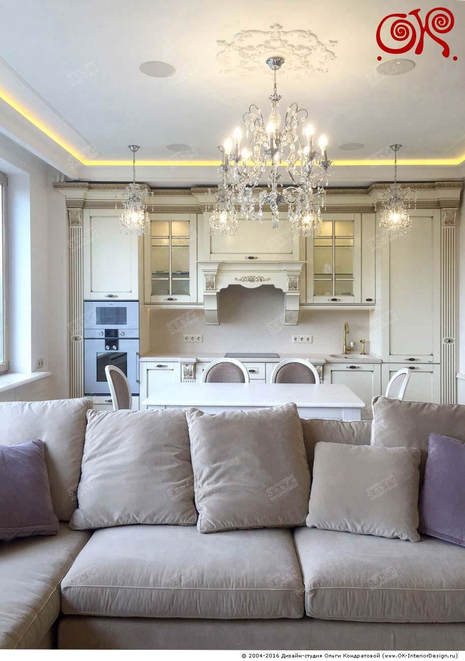 Дизайн светлой кухни в классическом стиле 10 кв м